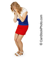 Poor weeping girl in dress color Russian flag - The poor...