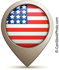 Straight Location Pin With USA Flag - Vector Illustration Of...