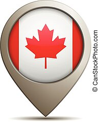 Straight Location Pin With Canada Flag - Vector Illustration...