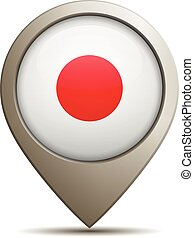 Straight Location Pin With Japanese National Flag - Vector...