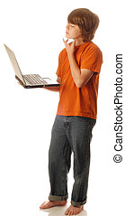 young teen boy holding computer thinking isolated on white