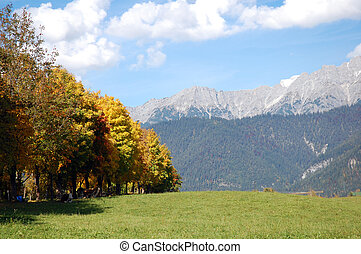 Fall in austrian alps - Colorful landscape in autumn at zell...