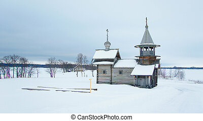 Orthodox wooden Church in the village in the North of...