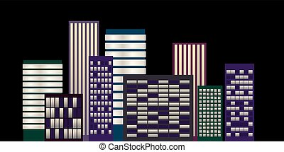 Night cityscape with skyscapers - Cityscape at night on...