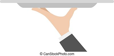 waiter tray with hand isolated on white background. Vector...