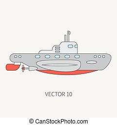 Line flat vector color icon naval submarine. Dreadnought...