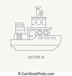 Line flat vector retro icon comercial tugboat. Merchant...