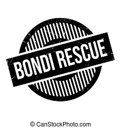 Bondi Rescue rubber stamp. Grunge design with dust...
