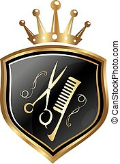 Emblem for hairdressers - Emblem for the barber, scissors...