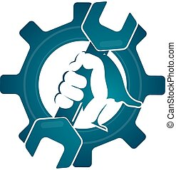 Repair symbol wrench in his hand - Repair symbol spanner in...