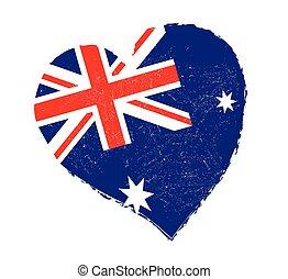 Australia flag in grunge heart shape.