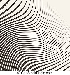 Halftone striped wave background