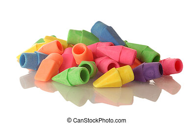 colorful pencil eraser tops isolaled on a white background