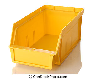 yellow plastic parts bin isolated on white background