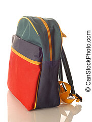 red blue green and yellow childrens backpack isolated on white background