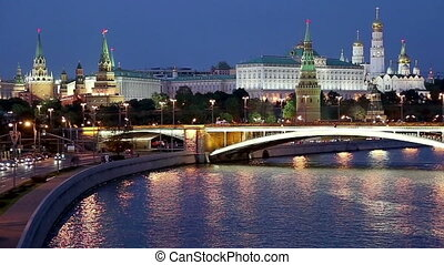 night view of the Moskva River, the Great Stone Bridge and...
