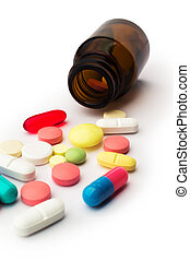 Pharmacy. Many colored pills and jar - Medicine and health....