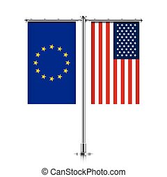 EU and USA flags hanging together. - European Union and...
