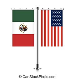 Mexico and USA flags hanging together. - Mexico and United...