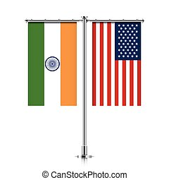 India and USA flags hanging together. - India and United...
