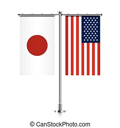 Japan and USA flags hanging together. - Japan and United...
