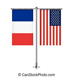 France and USA flags hanging together. - French and United...