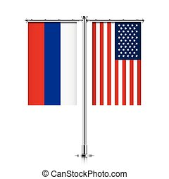Russia and USA flags hanging together. - Russian Federation...