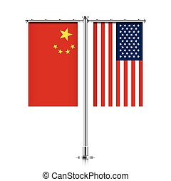 China and USA flags hanging together. - Peoples Republic of...