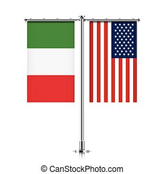 Italy and USA flags hanging together. - Italy and United...