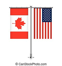 Canada and USA flags hanging together. - Canadian and United...
