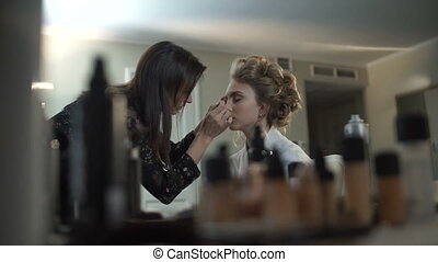 Morning of the bride, make-up work