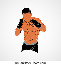 Mixed Martial Art - Abstract mixed martial arts fighter on a...