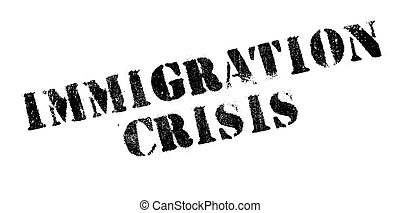 Immigration Crisis rubber stamp. Grunge design with dust...