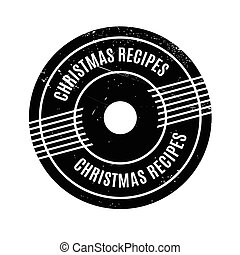 Christmas Recipes rubber stamp. Grunge design with dust...