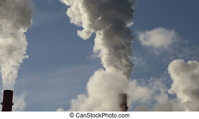Smoke stacks at coal burning power plant