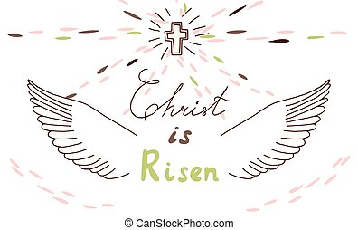 easter christian motive with lettering and sketch - Easter...