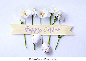 art happy Easter day; Easter egg and spring flowers