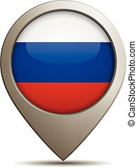 Straight Location Pin With Russian National Flag - Vector...