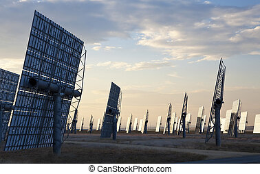A Field of Green Energy Solar Mirror Panels