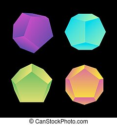 vector glossy platonic solids set - vector vibrant gradient...