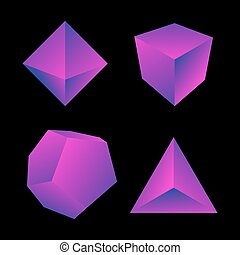 vector glossy platonic solids set - vector pink violet...