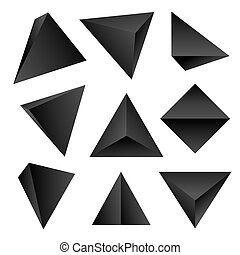 vector glossy platonic solids set