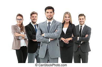 上に, グループ, ビジネス, 人々, 隔離された, 背景, 白, 微笑