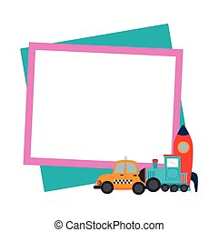 color frame with border with baby toys