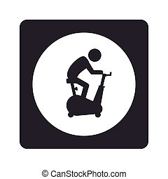 monochrome pictogram with square with circle inside with man...