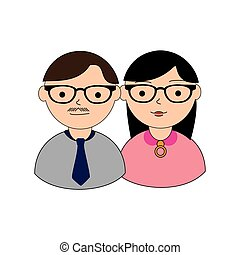 color silhouette with couple half body both with glasses