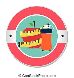 colorful circular frame with apple and measuring tape and...