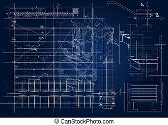 Architectural blueprint - frontal architectural blueprint...