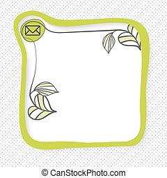 Green frame for your text and envelope