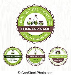 set of four natural cosmetics labels on wooden background....